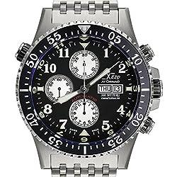 Xezo Montre chronographe, mécanisme Automatique Valjoux 7750 Suisse, Verre Saphir antireflets, Style Commandos, plongeurs, Pilotes. Diamètre: 45mm