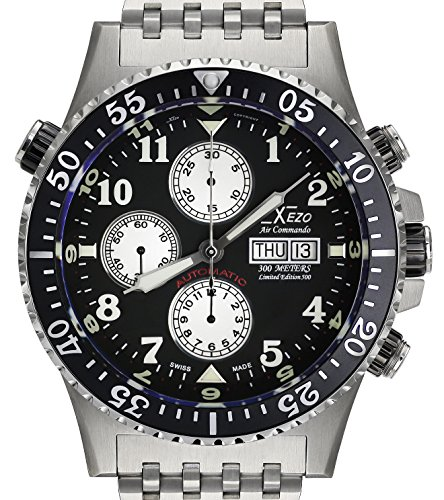 Xezo Air Commando Armbanduhr, Taucheruhr, Piloten-Stil, Schweizer Valjoux 7750 Automatik-Uhrwerk, Nicht reflektierend, Saphirglas, Durchmesser: 45mm - Seiko 5 Uhr Damen Automatik