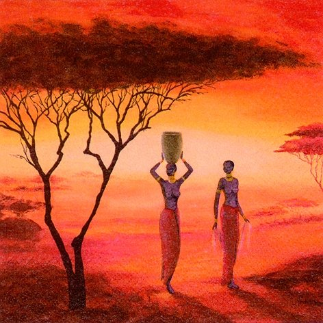20 Serviette 33x33 cm Afrika Romantik Wasserträgerin Safari Sonnenuntergang
