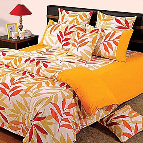 Yuga 8 Stück im Beutel Set gelb gedruckte Baumwollmaterial Tröster Bettwäsche-Set Bett -
