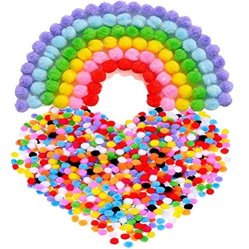 Pompons für Handwerkmachen und Hobbybedarf, 8 mm, 1000 Stück, Mehrfarbig