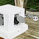 MIA Light Stein Steckdosen Verteiler Aussen ↥140mm/ Weiß/Kunststoff/ Säule Garten Aussensteckdose Gartensteckdose Steckdosensäule Steckdosenverteiler