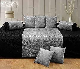 Diwan Set of 8 (Handtex Home Premium Diwan Content: 1 Single Bed Sheet, 5 Cushion Cover, 2 Bolster, Total - 8 Pcs Set)