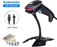 Barcode Scanner USB Laser 1D Wired Automatic Handheld MUNBYN Bar Code Reader 300 Scans/SEC Plug and Play with Base Stand Comp