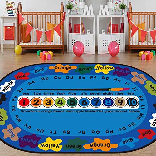 Loartee Kinderteppich mit Alphabet, ABC, Zahlen Lernen, Spielmatte für Kinderzimmer, Spielzimmer und Klassenzimmer, blau, 120x200cm / 4'x6'6''