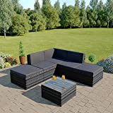 Rattan Modular Corner Sofa Set Garden Conservatory Furniture 5 To 9 Pcs INCLUDES GARDEN FURNITURE COVER (Lake Como, Dark Mixed Grey with Dark Cushions)