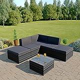 Rattan Modular Corner Sofa Set Garden Conservatory Furniture 5 To 9 Pcs INCLUDES GARDEN FURNITURE COVER (Lake Como, Dark Mixed Grey with Dark Cushions)