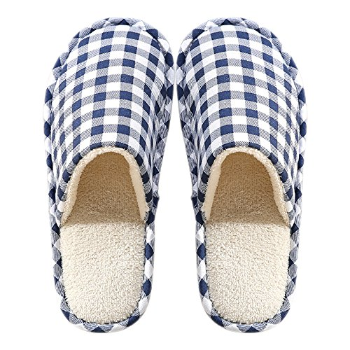 KINDOYO Hiver Chaud maison Pantoufles Peluche Chaussons Hommes / Femmes Coton Confortable Chaussures Bleu