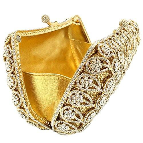 Sposa Pochette Donna Sera Borsetta Portafoglio Partito Cerimonia Borsa Spalla Frizioni Eleganti Oro Gold