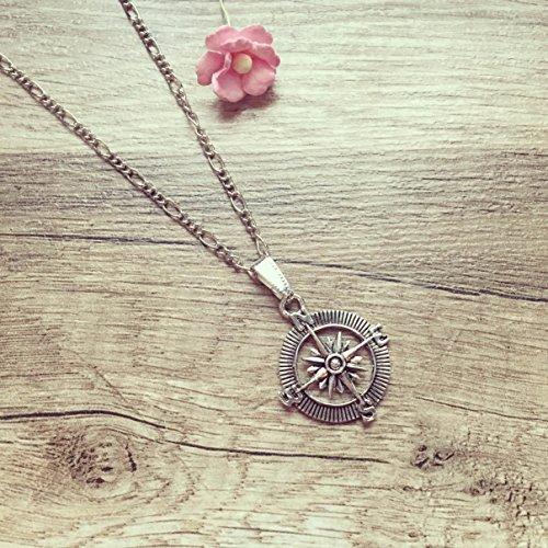 Lange Kette Kompass Silber, compass / maritim / vintage / ethno / hippie / must have / statement / florabella schmuck