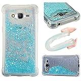 ChoosEU Compatible con Funda Samsung Galaxy Grand Prime G530 Silicona Transparente Dibujos Design Glitter Brillante Bonita Carcasas Liquido Purpurina Case Antigolpes Bumper Cover Protección Caso -
