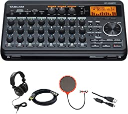 Tascam Compact Portastudio 8 Track Digital Recorder w/ Built in Microphone DP-008EX + Closed-Back Headphones + XLR 6' M-F 16AWG Gold Plated Cable + Pop Filter Mic Wind Screen w/ Mic Stand Clip