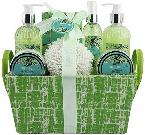 BRUBAKER Cosmetics Bade- und Dusch Set Weißer Tee und Ingwer Duft - 9-teiliges Geschenkset in Henkelbox