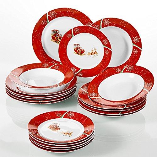 VEWEET, Serie CHRISTMASDEER, Porzellan Kombiservice, 18 tlg. Teller Set, Geschirrset für...