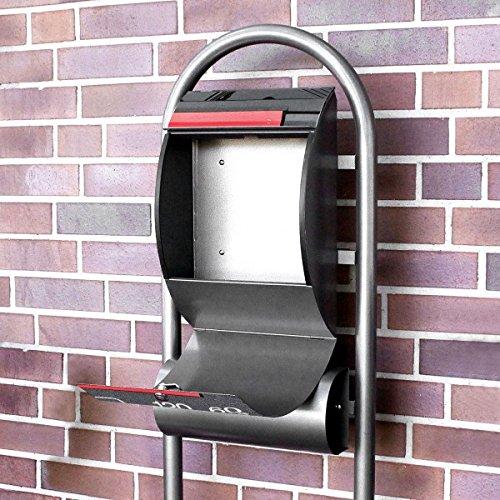 banjado – Design Stand Briefkasten mit Zeitungsrolle Metall schwarz 44x150x14cm mit Motiv Video Kassette - 4