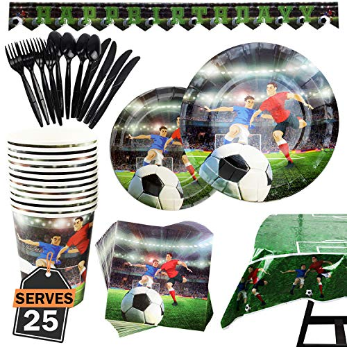 Kompanion 177 Piece Football Party Set Including Banner, Plates, Cups, Napkins, Tablecloth, Spoon, Forks, and Knives, Serves 25