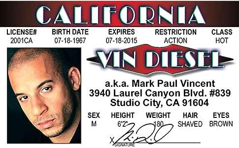 Signs 4 Fun NVDID2 Vin Diesels Drivers License