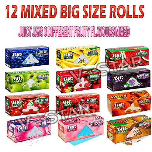 12 Mixed Juicy Jays Different Fruity Flavours Big Size Rolls Rolling Smoking Papers (Smoking Rolling Papers)