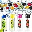 SecretRain 700ml Red Fruit Infusing Water Bottle with Fruit Infuser and Flip Lid Lemon Juice Make Bottle- BPA Free (700ML)