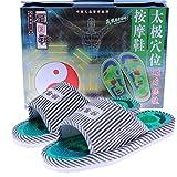Pantofole per massaggio ai piedi Assistenza sanitaria Taichi Point Agopuntura Home Uomo Pantofole per massaggi magnetici Scarpe da ginnastica ( Color : Blue , Size : One size )