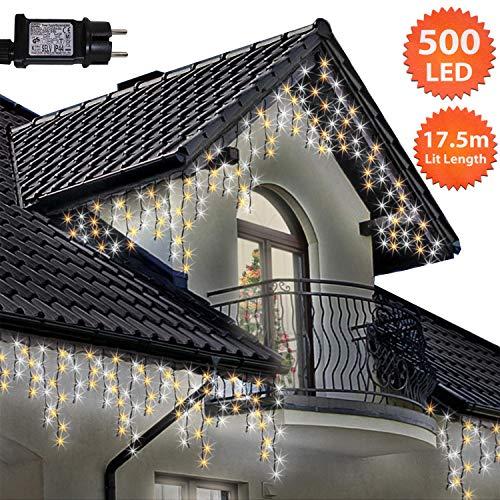 Eiszapfen Lichterketten 500 LED lichterkette außen, Helle Weiße & Warme weiße Alternative Baum Lichter, Länge 17,5m,GS Geprüft,Optional mit 8 Leuchtmodi/Memory/ Timer,Grünes Kabel-2 Jahre Garantie (Kabel-alternativen)