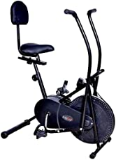 Lifeline Exercise Air Bike with Back Support for Weight Loss at Home | Moving Handle Gym Bike for Weight Loss at Home