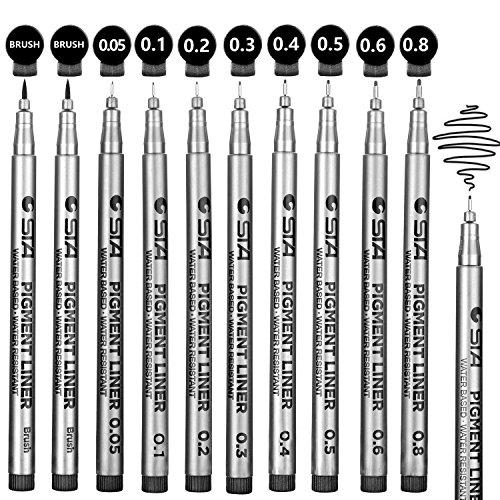 Rotuladores de punta fina 10 pcs para  dibujo, redacción, técnico, documentos de oficina, cómic manga, scrapbooking y uso de la escuela