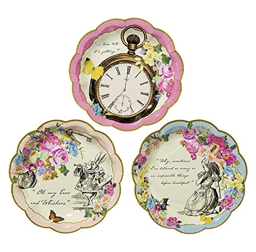Talking Tables Truly Alice in Wonderland Assiettes en Carton pour Anniversaire, Mariage, Goûter Festif et Festivités, Fête à Thème Alice au Pays des Merveilles, Dia. 18cm (Paquet de 12 contenant 3 modèles)