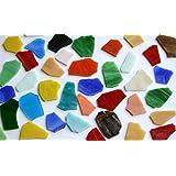 300g (env. 50-60pièces) pierres de mosaïque en verre de Tiffany non travaillées multicolores.