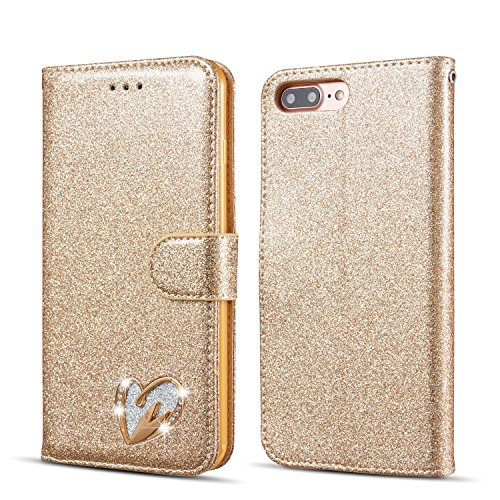 QLTYPRI Case for iPhone 6 6S, Glitter Sparkle Smooth Cover with Inlaid Loving Heart Diamond Design [Magnetic Closure] [Card Slot] Stand Function Luxury Bling PU Leather Case with Wrist Strap Flexible TPU Case Wallet Flip Case for iPhone 6/6S - Gold
