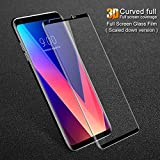 Original LG V30 (Edge To Edge) (NO Rainbow) Full Screen Premium Quality Tempered Glass Screen Protector 9H Hardness Oleo Phobic Coating Tempered Glass (Black)