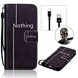 Search : Samsung Galaxy S6 G9200 SM-G920F PU Leather Wallet Case, Vandot Flip Folio Stand Magnetic Closure Cover Premium Slim Fit Protective Colorful Printing Painting Pattern+ Bling Cool Black Skull Anti Dust Plug+ Mini USB Sync Data Line Charging Cable-Black Nothing