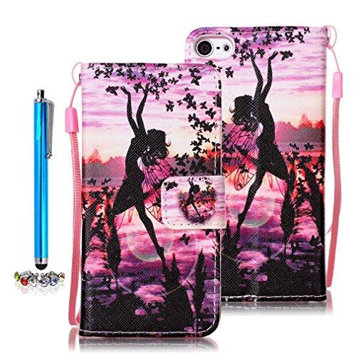 A9H iPod Touch 5G/6G Wallet Tasche Hülle - Ledertasche im Bookstyle in Braun - [Ultra Slim][Card Slot][Handyhülle] Flip Wallet Case Etui für iPod Touch 5G/6G -04A (Ipod Touch 5g Smart Case)