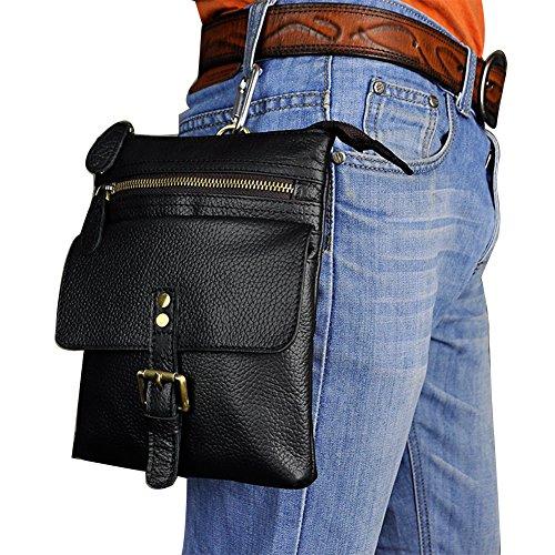 Genda 2Archer Bolso de Cuero del Hombro del Bolso del Fanny del Gancho de los Deportes de los Hombres Pequeño (18cm * 5cm * 23cm) (Negro)