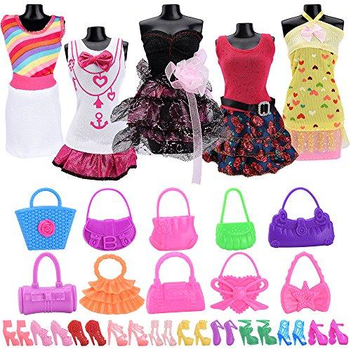 Asiv 25 pz fashion abbigliamento e essenziale per bambole barbie regali (5 mini carina abiti, 10 paia di scarpe, 10 plastica borsetta), per ragazza compleanno regalo