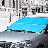 Auto Sonnenschutz Schutz Schnee Windschutzscheibe Abdeckung, eJiasu Winter Sommer Alles Wetter Auto Sun Shade Eis Entfernung Wischer Visier Schutz für Autos Trucks Vans (Blau)