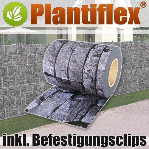 Sichtschutz Rolle 35m blickdicht PVC Zaunfolie Windschutz für Doppelstabmatten Zaun (Schiefer)