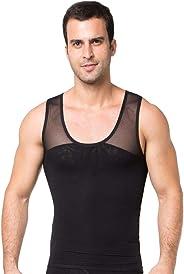 DAVAS Men's Chest Compression Shirt to Hide Gynecomastia Moobs Mesh Body Shaper Workout Tank Tops