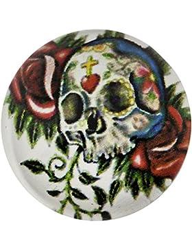 Morella Unisex Glas Click-Button Druckknopf Totenkopf mit Rosen