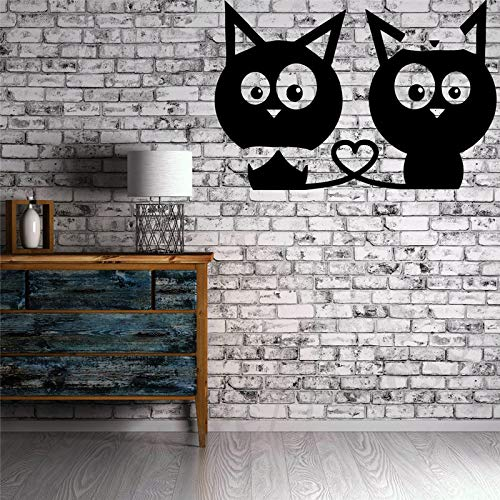 Kätzchen Liebe Herz Wandbild Vinyl Kunst Aufkleber Für Kinderzimmer Schlafzimmer Removable Home Decor Katze Wandtattoos Perfekte Qualität ~ 1 56 * 89 cm -