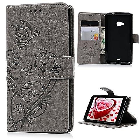 Badalink Microsoft Lumia 535 Hülle Schutzhülle PU Leder Handyhülle Schale Flip Wallet Case Brieftasche mit Magnetverschluss Blumen Schmetterling Cover,