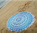 #9: Tapestry Lovers Blue Ombre Mandala Printed Wall Hanging Round Roundies for Beach Throw, Beach Mat, Round Beach Towel, Yoga Mat, Table Cloths Table Cover Picnic Mat Tapestry Garden Blanket 72 Inches