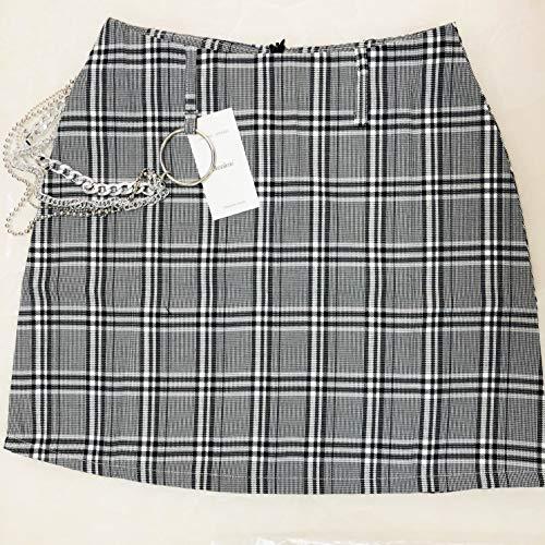 A-linie Rock Slim (XUDSJ High Waist Chain Minirock Tartan Grau Damen A-Linie Rock Harajuku Plaid Röcke Damen Casual Slim Short Skirt (Color : W4 Grey CY466, Size : S))