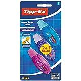 Tipp-Ex Micro Tape Twist Cinta Correctora Blanca 8 m x 5 mm – Colores Surtidos, Blíster de 2+1 Unidades, Con Cabezal Rotativo