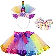 AmzBarley Gonna Tutu per ragazza arcobaleno con fermaglio per capelli stellato e cerchio per capelli unicorno per spettacoli di ballo di gruppo