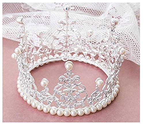 WHUI Gâteau Topper Tiara Décoration Royal Fille Argent Strass Handcrafted Imitation Perles Rond Plein Couronne Bijoux De Mariage Accessoires
