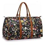 Anna Grace Vintage Reisetasche Blumenmuster Wasserdicht Weekender Tasche Duffle Bag Groß Wochenend Tasche Herren Damen (Schwarz)