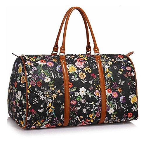 Anna Grace Vintage Reisetasche Blumenmuster Wasserdicht Weekender Tasche Duffle Bag Groß Wochenend Tasche Herren Damen (Schwarz) (Anna Tasche)