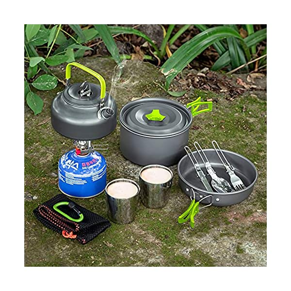 Aitsite Camping Cookware Kit Outdoor Aluminum Lightweight Camping Pot Pan Cooking Set for Camping Hiking 5