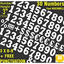 3inch (75mm) pegatinas para números de color blanco Premium vinilo letras corte individualy libre signos de puntuación